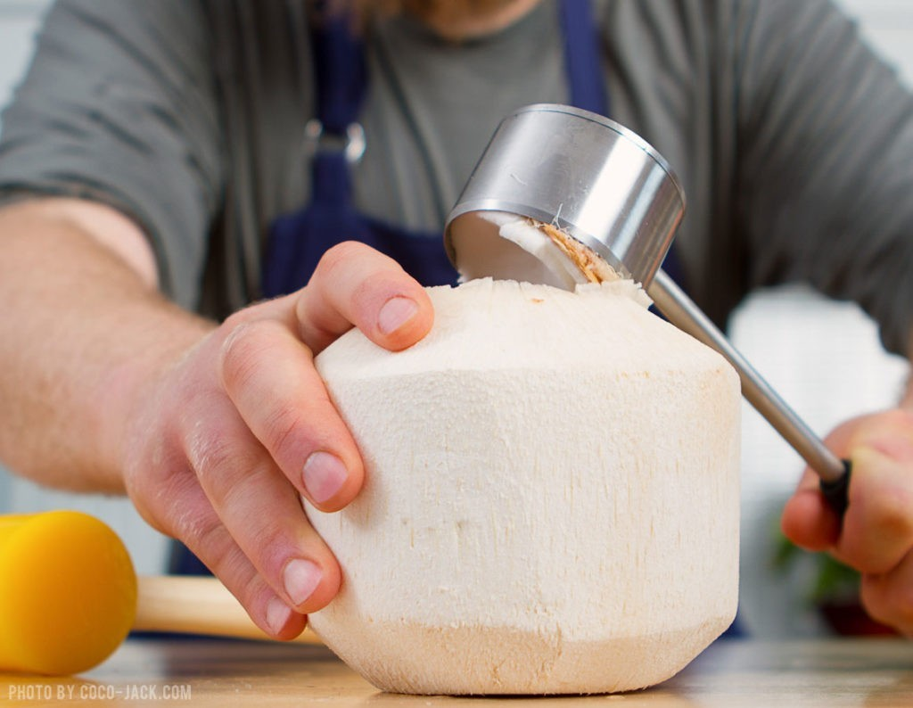 A simple culinary tool that  provides easy access to fresh Coconut water.