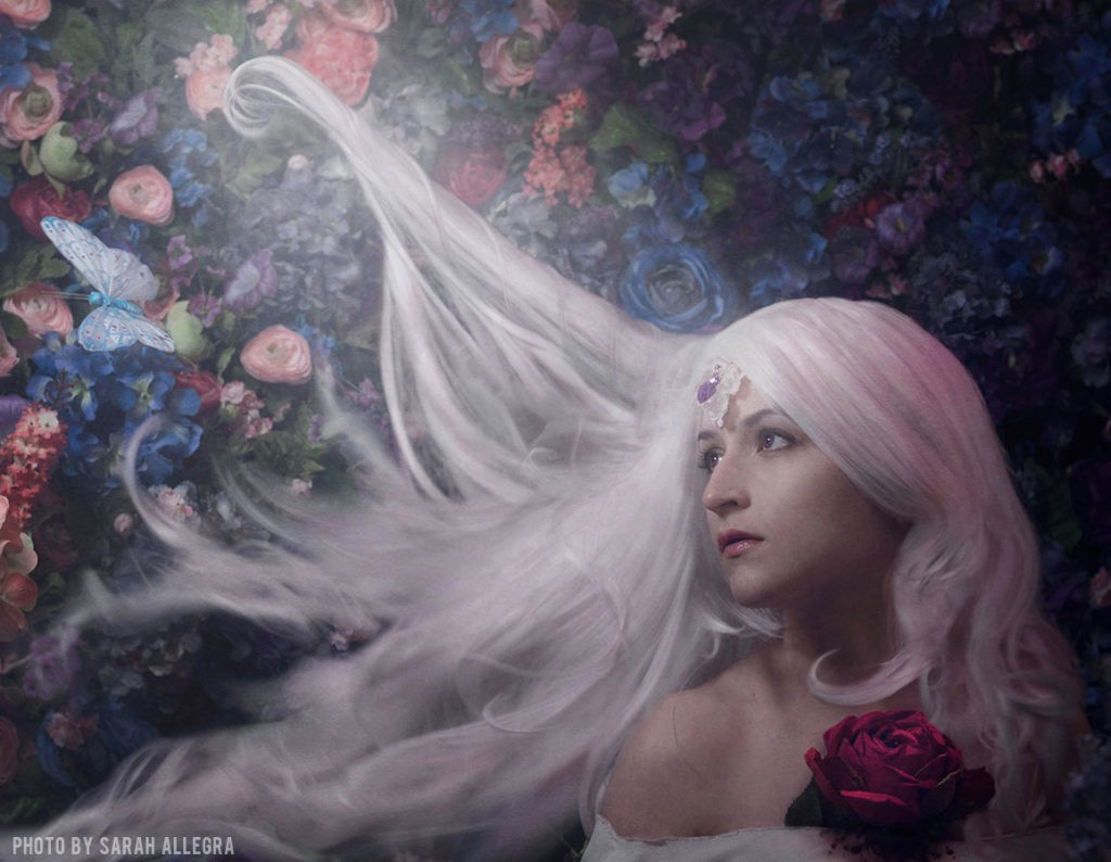In the lilac wood is a self portrait by Millennial artist, Sarah Allegra.